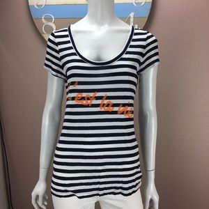 Banana Republic Graphic T Shirt Striped Scoop Neck